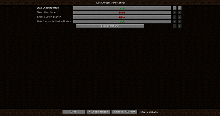 Just Enough Items Mod for Minecraft Setting