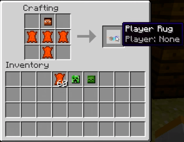 Player Rugs Mod for Minecraft Recipe