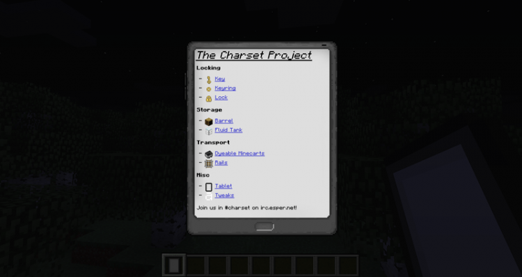 Charset Tablet mod for minecraft 07