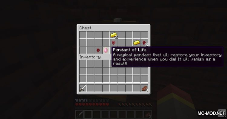 Pendant of Life mod for Minecraft (2)