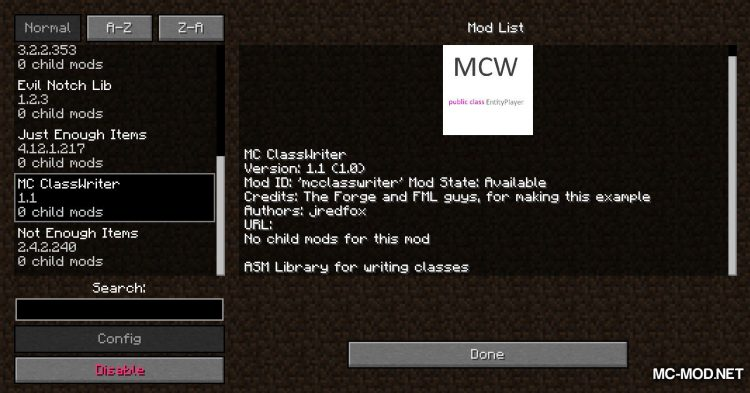 MC ClassWriter mod for Minecraft (1)