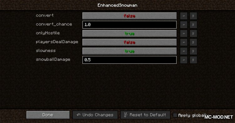 EnhancedSnowman mod for Minecraft (2)