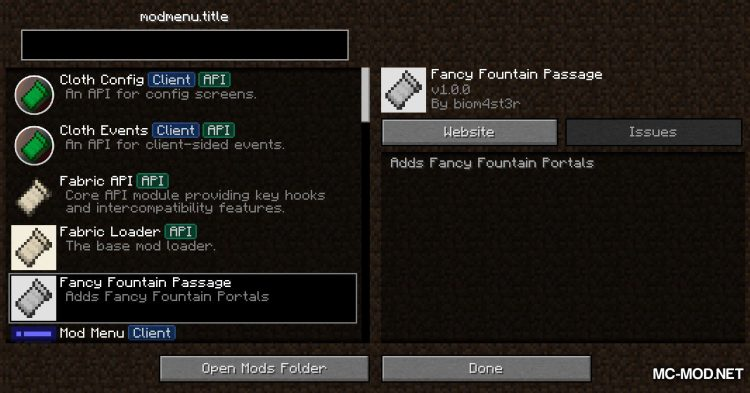 Fancy Fountain Passage mod for Minecraft (1)