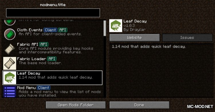 Leaf Decay mod for Minecraft (1)