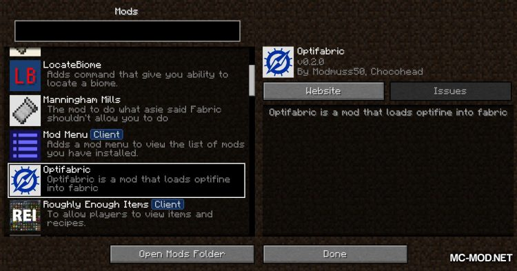 OptiFabric mod for Minecraft (3)