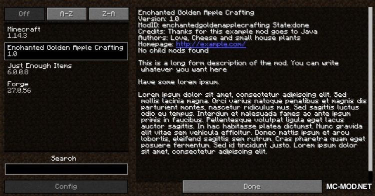 Enchanted Golden Apple Crafting mod for Minecraft (1)