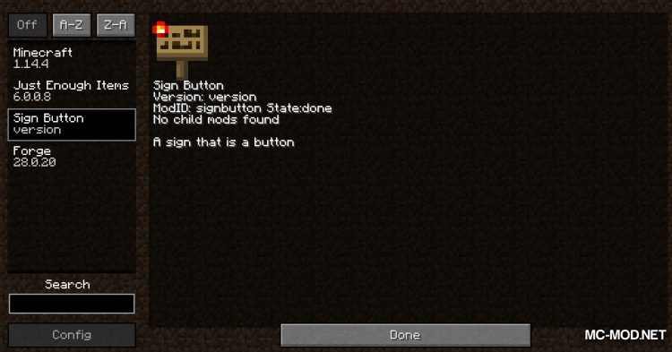 Sign Button mod for Minecraft (1)