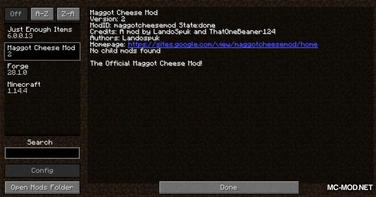 Maggot Cheese Mod mod for Minecraft (1)