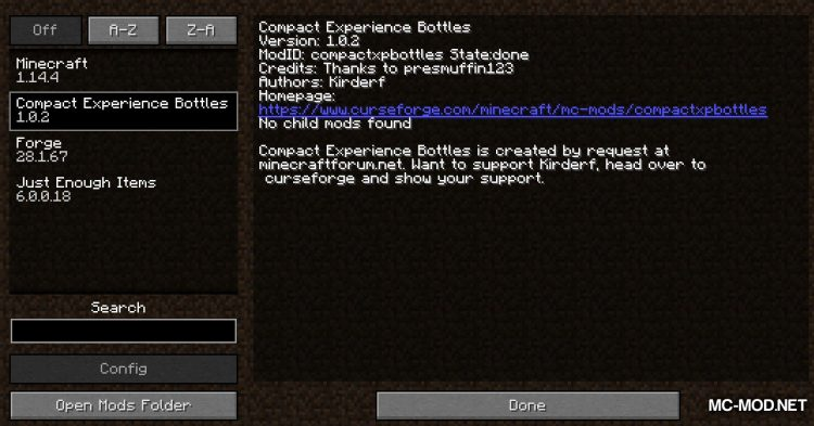 Compact Experience Bottles mod for Minecraft (1)