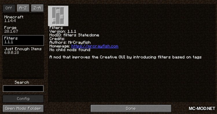 Filters mod for Minecraft (1)