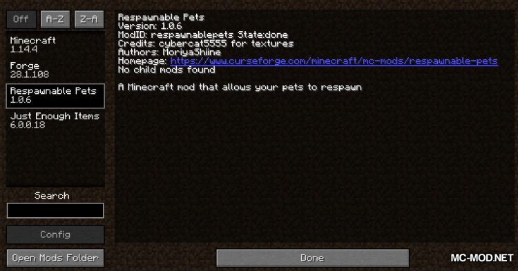 Respawnable Pets mod for Minecraft (1)