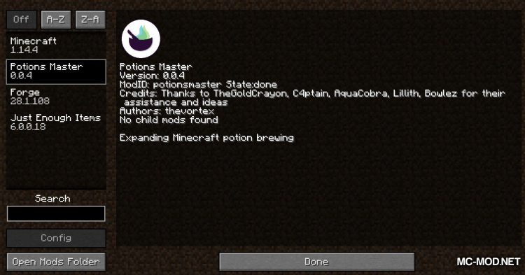 Potions Master mod for Minecraft (1)