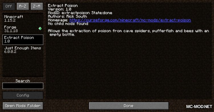Exrtact Poison mod for Minecraft (1)