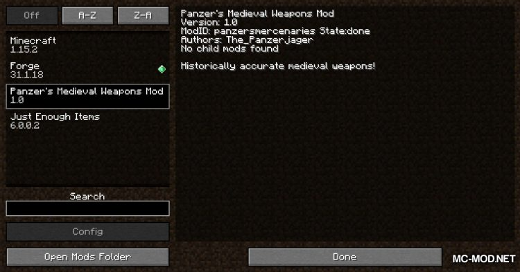 Panzer_s Medieval Weapons mod for Minecraft (1)
