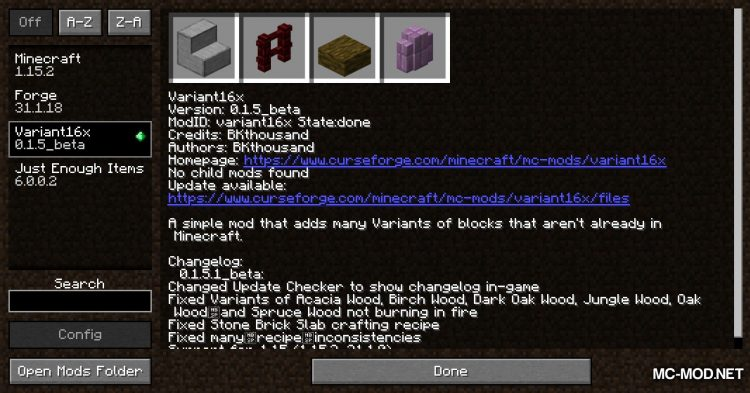 Variant16x mod for Minecraft (1)