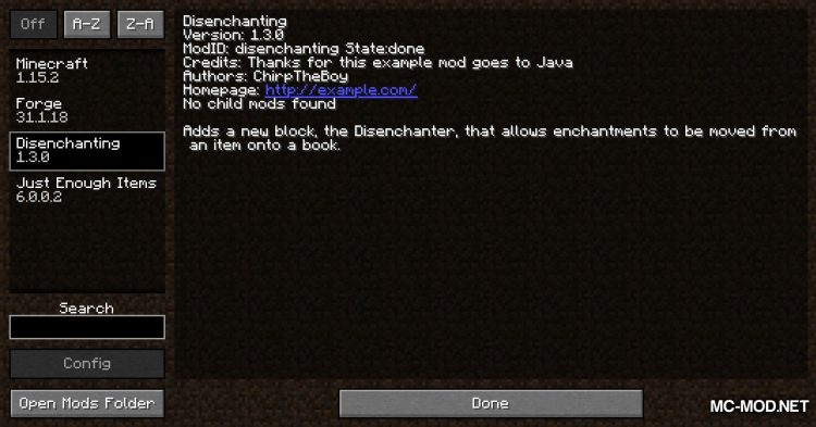 DisenchantingForge mod for Minecraft (1)