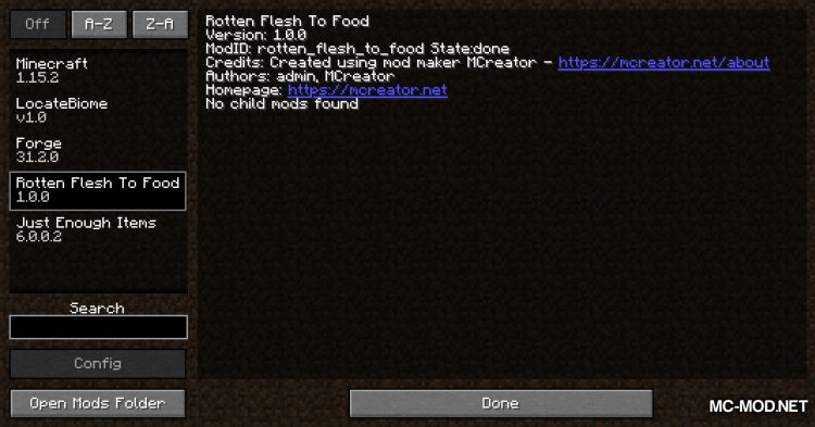 Rotten Flesh To Food mod for Minecraft (1)