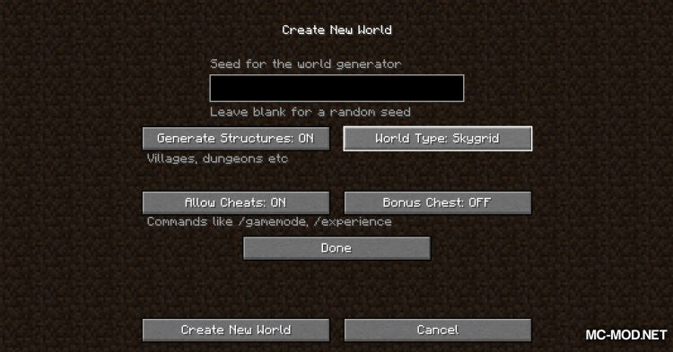 Skygrid mod for Minecraft (2)