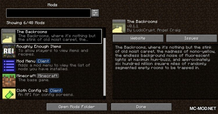 The Backrooms mod for Minecraft (2)