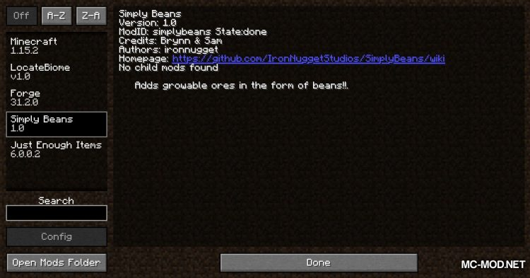 Simply Beans mod for Minecraft (1)
