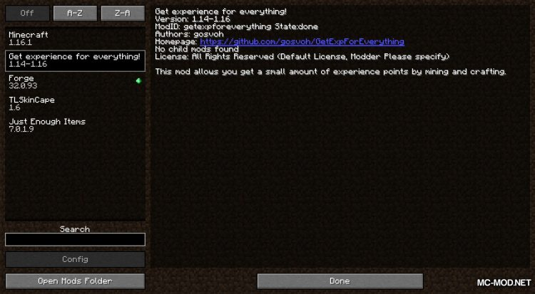 Get Exp For Everything mod for Minecraft (1)