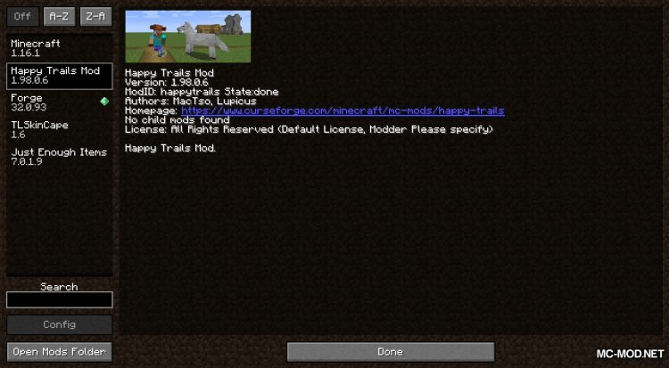 Happy Trails mod for Minecraft (1)