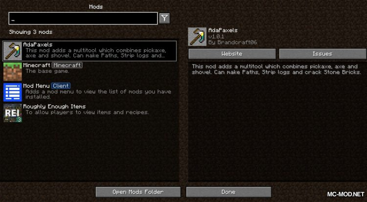 AdaPaxels mod for Minecraft (1)