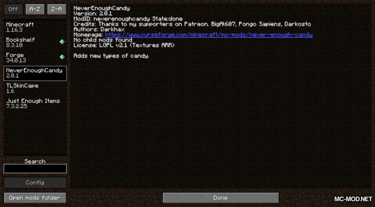 Never Enough Candy mod for Minecraft (1)